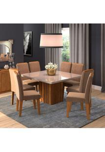 Conjunto De Mesa Para Sala De Jantar Ana Com 8 Cadeiras Tais-Cimol - Savana / Off White / Pluma