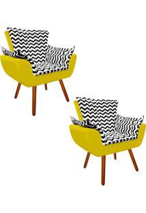 Kit 02 Poltrona Decorativa Opala Suede Compos㪠Estampado Zig Zag Preto D80 E Suede Amarelo - D'Rossi - Amarelo - Dafiti