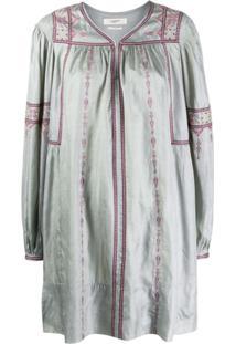 Isabel Marant Étoile Cross-Stitch Embroidered Dress - Cinza