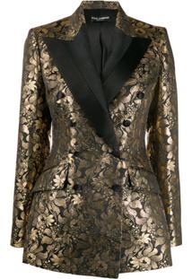 Dolce & Gabbana Blazer Jacquard Com Abotoamento Duplo - Preto