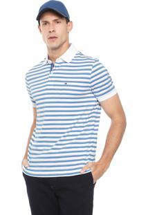 Camisa Polo Tommy Hilfiger Reta Murray Branca/Azul