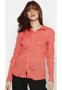 Camisa Poã¡ Com Botãµes- Laranja & Brancahering