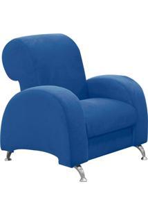 Poltrona D'Rossi Decorativa Hipo Suede Azul Royal Com Pés Em Alumínio
