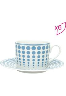 Jogo De Xícaras De Chá Dots- Azul Claro & Branco- 6Pwolff