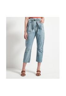 Calça Cropped Jeans Com Cinto Faixa E Pregas Frontais
