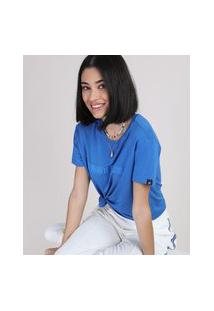 "Blusa Feminina Ampla Monday Is Too Long"" Manga Curta Decote Redondo Azul Royal"""