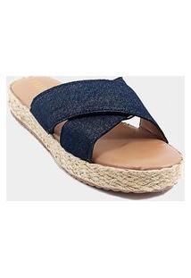 Tamanco Anabela - Tira Larga X - Jeans - Flatform Corda