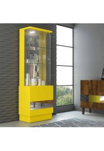 Cristaleira Com Espelho 2 Portas New Vina Com Led 100% Mdf Amarelo - Dj Móveis