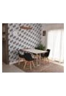 Conjunto De Mesa Dobrável Retrátil 1,40 Branco/Noronha Inox + 4 Cadeiras Leda - Preta
