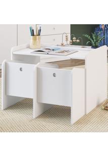 Mesa Escrivaninha Montessorino 2 Cadeiras Cj7000 Branco - Art In Móveis