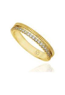 Anel Ouro Amarelo E Diamante Branco