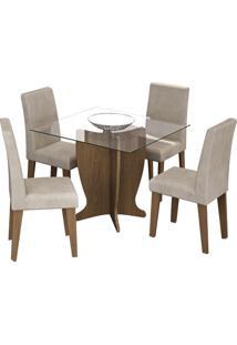 Sala De Jantar Luana 100 Cm Com 4 Cadeiras Savana Sued Bege