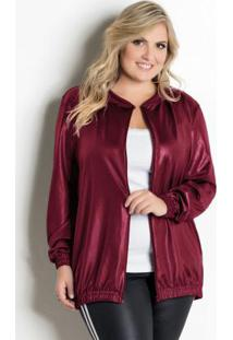 Jaqueta Em Cirrê Bordô Plus Size