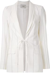 Egrey Blazer Listrado Com Amarração - Branco