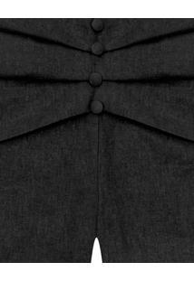 Shorts Linho Recorte Botões Preto Reativo - Lez A Lez