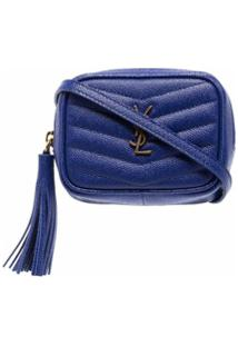Saint Laurent Bolsa Matelassê Kate Mini - Azul