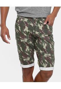 Bermuda Preston Sarja Barra Virada Camuflada Reta Masculina - Masculino