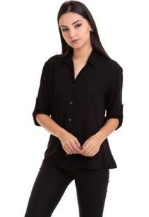 Camisa Kinara Viscose Manga ¾ Martingale Feminina - Feminino-Preto