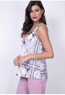 Blusa Evasê Decote Vazado Lança Perfume - Feminino-Rosa Claro