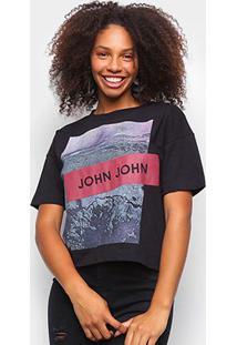 Camiseta John John Estampada Faixa Logo Feminina - Feminino-Preto