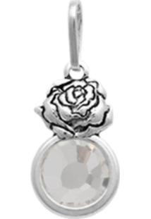Pingente Prata Mil Prata Envelhecida Rosa Com Pedra Chaton Cristal