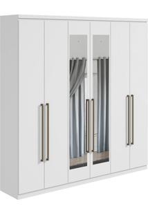 Guarda-Roupa Casal Com Espelho Alonzo 6 Pt 6 Gv Branco