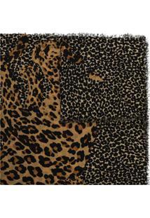 Saint Laurent Cachecol De Lã Colorido Com Estampa De Leopardo