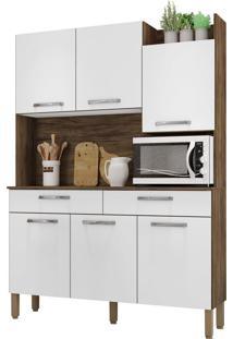 Armário De Cozinha Modena Savana/White 6 Portas 2 Gavetas Nicho Superior - Kits Paraná