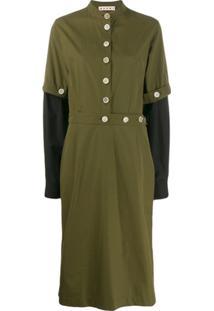 Marni Vestido Midi Militar - Verde