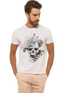 Camiseta Joss Estampada - Caveira Flor - Masculina - Masculino-Branco