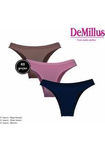Kit 3 Calcinhas Demillus Arazul Cotton Feminina - Feminino