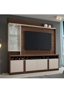 Estante Para Home Theater E Tv Até 60 Polegadas Canastra Imbuia E Off White