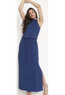 Vestido Longo Com Fenda- Azul Escuro- Maria Padilhamaria Padilha