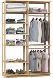 Closet 2 Cabideiros 7 Prateleiras 9010 Carvalho - Bentec