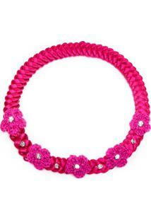 Faixa De Cabelo Trançada Flores & Strass Pink - Roana Tre00020009 Faixa De Cabelo Trançada Flor Tricot Pink