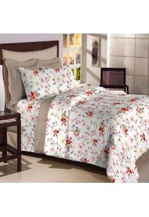 Jogo De Cama Solteiro Textil Lar Flores Vermelho E Amarelo Percal 200 Fios