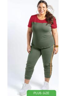 Conjunto Blusa Manga Curta E Calça Verde