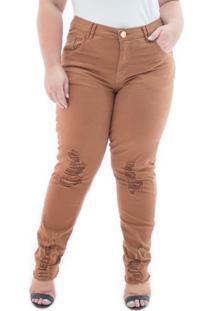 Calça Feminina Jeans Cigarrete Destroyed Color Plus Size
