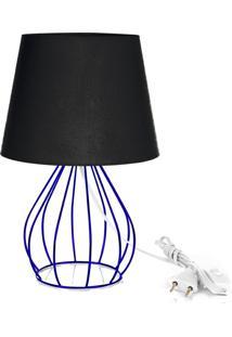Abajur Cebola Dome Preto Com Aramado Azul - Preto - Dafiti