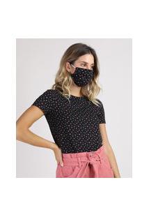 Kit De Blusa Feminina Estampada Floral Manga Curta Decote Redondo + Máscara De Proteção Individual Preta