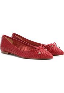 Sapatilha Couro Shoestock Tressê Bico Fino Feminina - Feminino-Vermelho