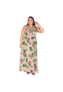 Vestido Marguerite Plus Size Longo Transpassado Floral Bege