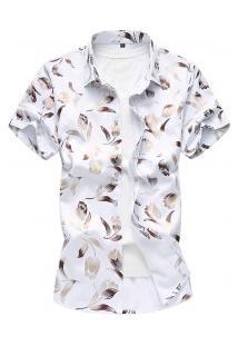 Camisa Masculina Estampa De Rosas - Branco