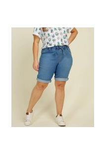 Bermuda Plus Size Feminina Jeans Amarração