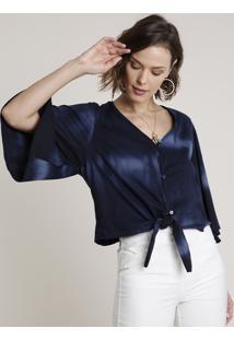 Blusa Feminina Estampada Tie Dye Com Botões E Nó Manga 3/4 Decote V Azul Marinho
