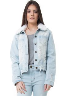Jaqueta Rosa Line Jeans Com Recortes E Gola De Pelo Removível