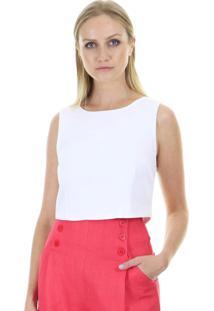 Blusa Cropped Lisa Detalhe Botãµes Costas Aha - Off-White - Feminino - Dafiti