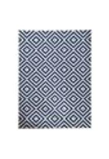 Tapete Kayla Retangular Polipropileno (250X350Cm) Azul E Branco