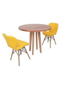Conjunto Mesa De Jantar Em Madeira 90Cm Com Base Vértice + 2 Cadeiras Slim - Amarelo