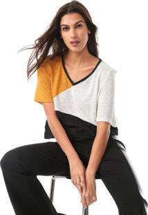 Camiseta Lança Perfume Recortes Off-White/Amarelo